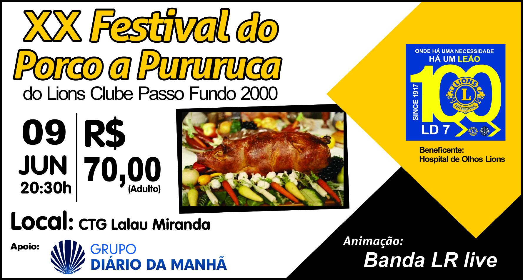 Festival do Porco a Pururuca ocorre neste sábado